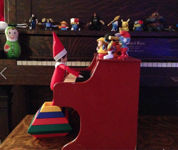 elf on the shelf idea piano playing