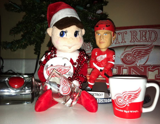 elf on the shelf ideas detroit wings fan