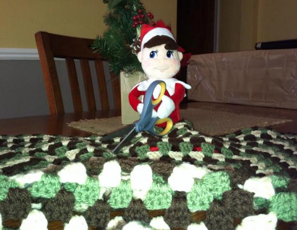 elf on the shelf ideas cutting yarn
