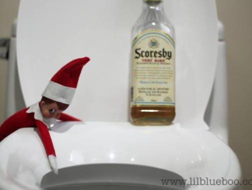 elf on the shelf gets drunk