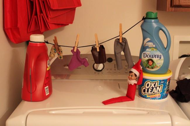 elf doing laundry