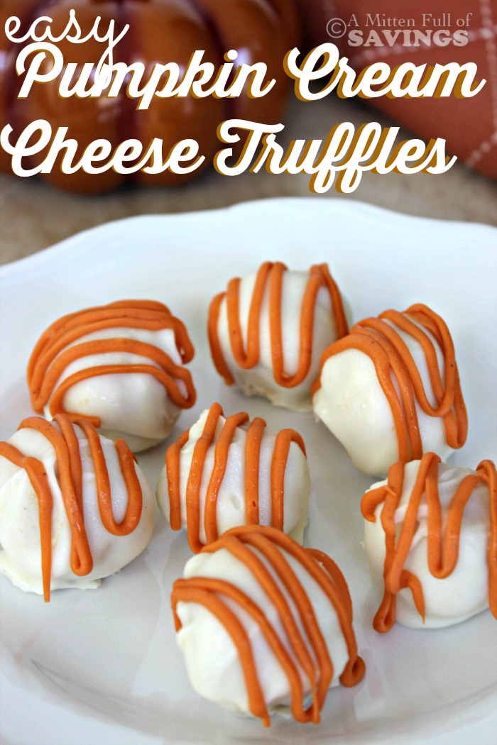 Easy Pumpkin Cream Cheese Truffles from A Mitten Full of Savings