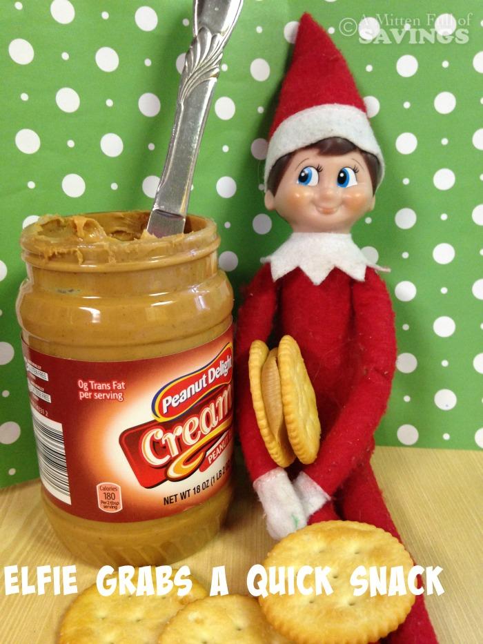 elf on the shelf idea elfie grabs a quick snack