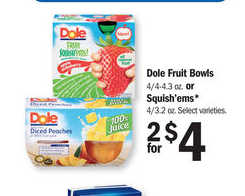 dole fruit bowls and squishems